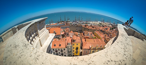 belvedere blue boat ship sailship sail building city downtown historic historical horizon light lisbon miradouro oldtown picturesque portugal river roof sky summer sunny town traditional urban view panorama terrace stone banister water sea tejo tagus planet earth 180degrees 180º nikkor pietrofaccioli faccioli pietro noon midday nikon d800 fisheye tallship vertigo