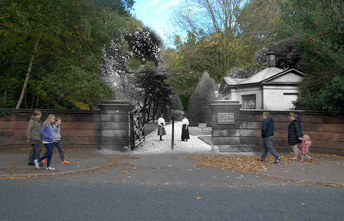 Calderstones Park Entrance, 1900s in 2015