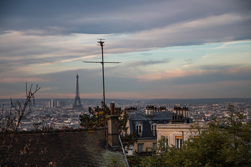 paris france skyline view eiffel montmartre