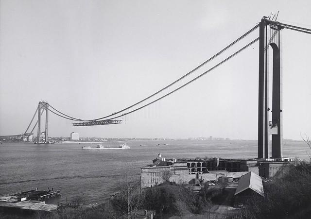 Construction of New York's Verrazano-Narrows Bridge on December 4, 1963