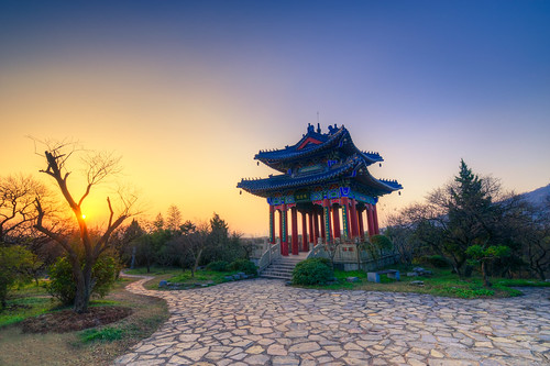 pavilion pagoda sunset sun park outdoor nature ancient old building architecture sky twilight dusk dark nikon nikond800 tamronsp1530f28 china nanjing