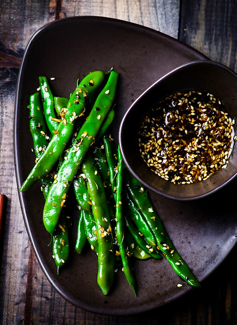 green beans in sesame Asian sauce