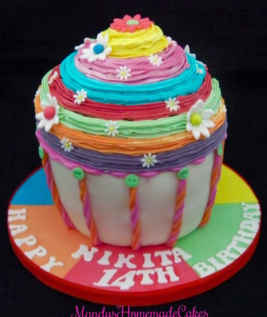 Pleasant Rainbow Coloured Giant Cupcake Birthday Celebration Cake Flickr Funny Birthday Cards Online Necthendildamsfinfo