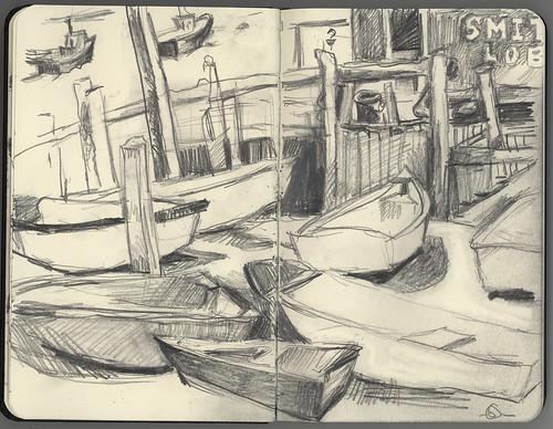 seascape landscape boats sketch maine jonesport downeastmaine 5bpencil pocketsizemoleskine marciamilnerbrage