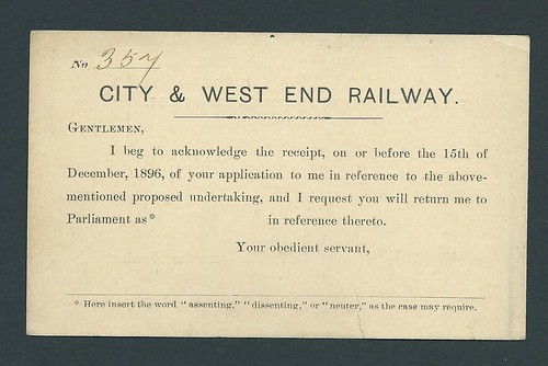 City & West End Railway voting card of 1898 | by ian.dinmore