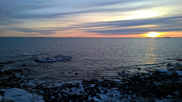 Sunset at Suomenlinna sea fortress