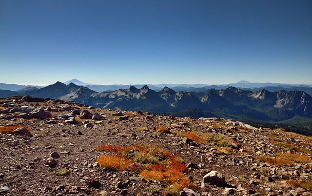 Looking Across an Overlook of Glacial Debris to Mountain Peaks Near and Far (Mount Rainier National Park)