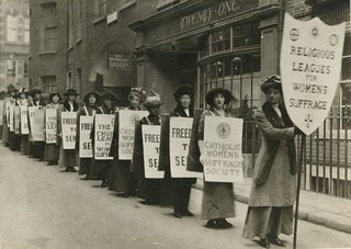 Procession of the religious leagues for women's suffrage, c.1914. | by LSE Library