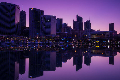ocean xmas longexposure morning blue art nature water yellow sunrise canon buildings reflections boats lights bay purple harbour tripod sydney magenta australia calm newsouthwales darlingharbour pyrmont ultimo cocklebay widelens manfroto mariobekes mariobekesphotography