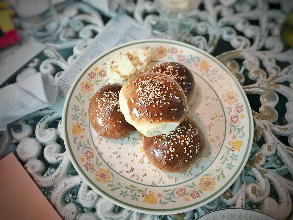 Benne yeast rolls, honey butter, sea salt