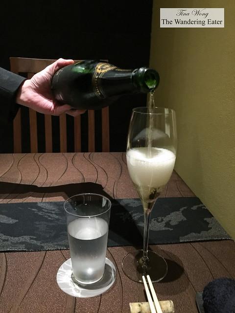 Pouring 2005 Grand Cru Millesime, Blanc de Blancs, Champagne Drappier