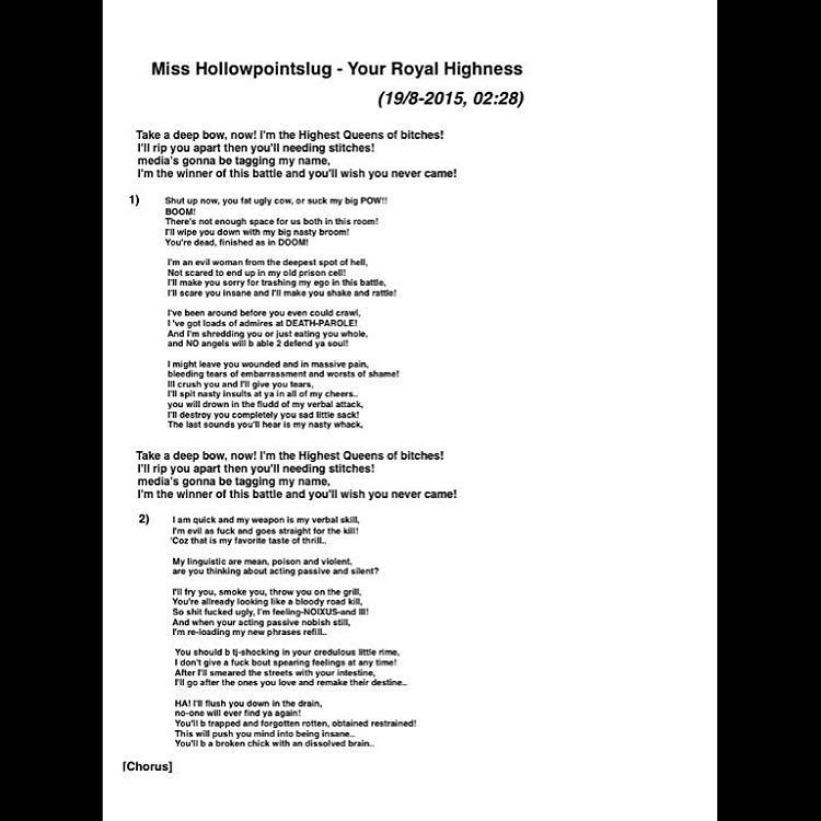 Rap bars written by