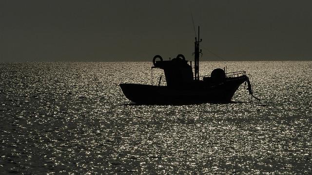 Marsala - stagnone - imbarcazione al tramonto