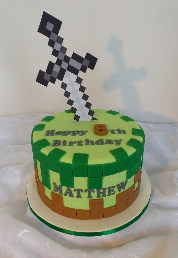 Astonishing Minecraft Themed Birthday Cake Willi Probst Bakery Flickr Funny Birthday Cards Online Fluifree Goldxyz