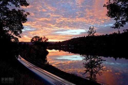 camera sunset two sky color clouds oregon train canon reflections river lens ian eos long exposure mark images amtrak ii nights 5d usm willamette oregoncity sane f4l ef1740mm