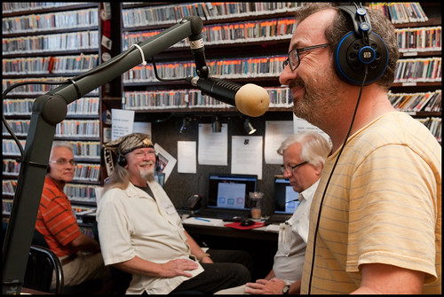 Ron Phillips pitches while the phone bank looks on at WWOZ Fall Pledge Drive 2015 day 3. Photo by Ryan Hodgson-Rigsbee - www.rhrphoto.com