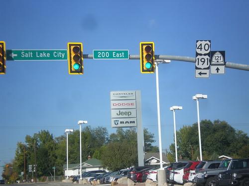 biggreensign overhead shield intersection sign utah roosevelt us191 us40 ut121