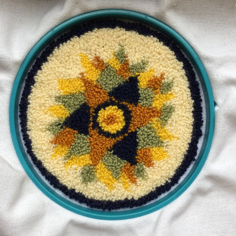 Punch needle embroidery: potholder