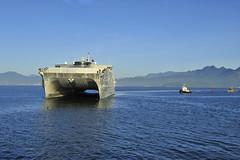 USNS Millinocket (JHSV 3) approaches the pier in Da Nang Aug. 17.  (U.S. Navy/Lt. j.g. Elizabeth Feaster)
