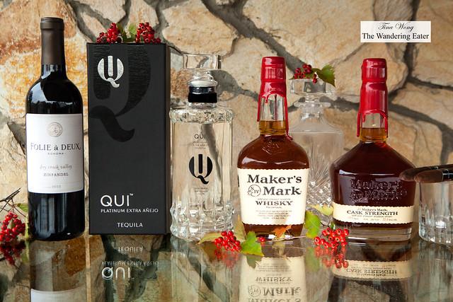 Folie a Deux Zinfandel, Qui Tequila, Maker's Mark Whisky, Maker's Mark Cask Strength Whisky