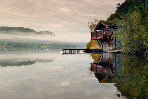 lake sky reflection lakedistrict ullswater cumbria landscape water refections boathouse cloud mist misty nature