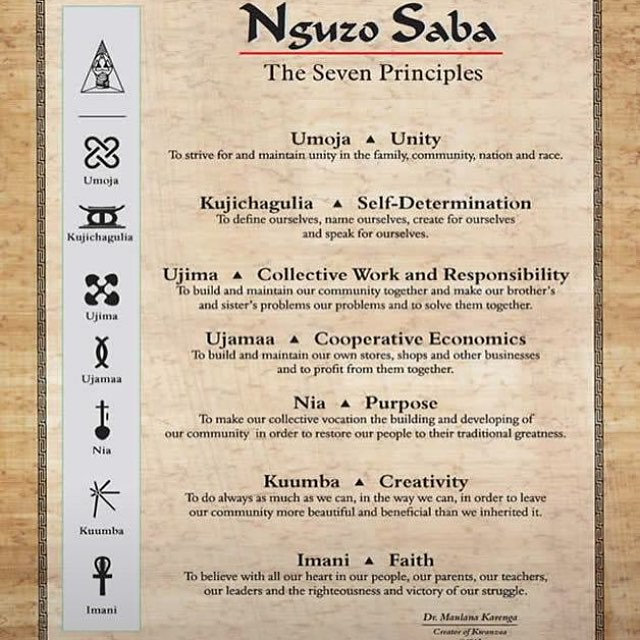 7 PRINCIPLES of Kwanzaa laid down by Dr. Maulana Karenga in 1967.