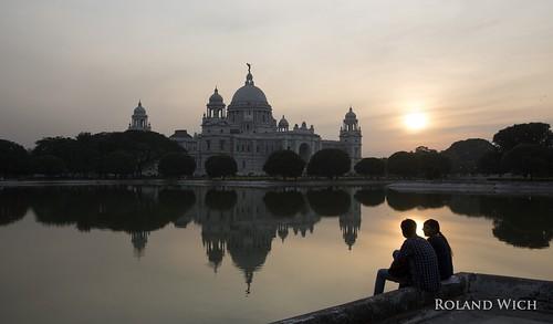 india indien inde west bengal victoria monument kolkata colkata kalkutta memorial sunset silhouettes