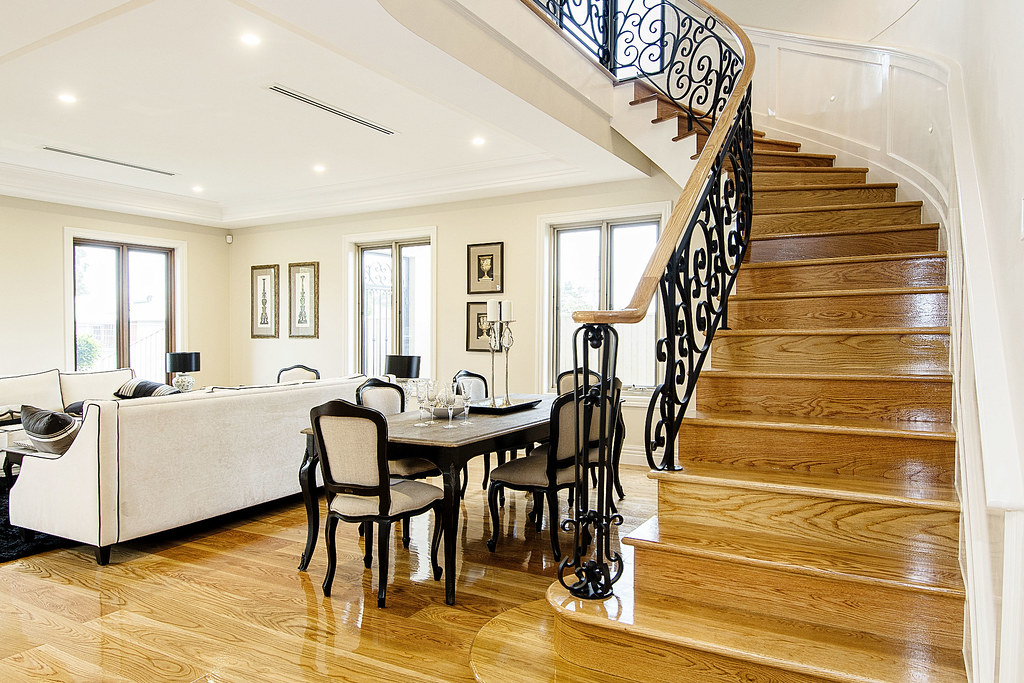 Geometric Stairs Geometric Staircase Melbourne: Geometric Staircase With Wrought Iron Balustrade