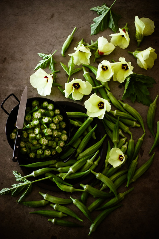 Okra and Okra blossoms from my garden :)