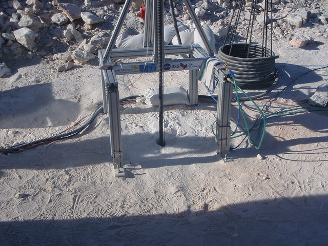 Drill down the borehole