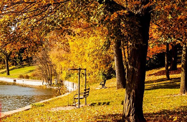 Vacant seating at the riverbank