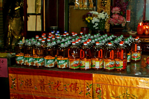 Offerings of juice bottles, Lim Fah San Monastery, Kuching, Sarawak | by davidvictor513
