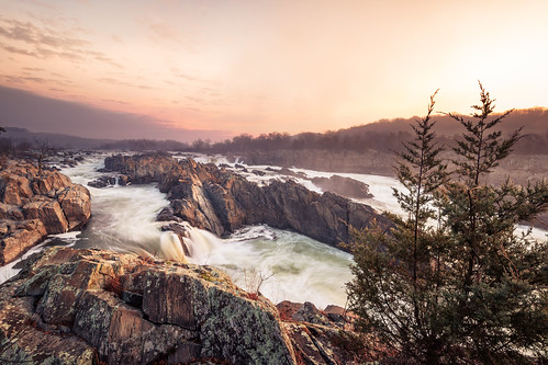 park travel trees usa mist nature water beautiful misty sunrise river landscape virginia us nationalpark solitude view unitedstates greatfalls scenic falls national serenity cascades potomac gorge mather mclean waterfall print11x1750 print:this=85