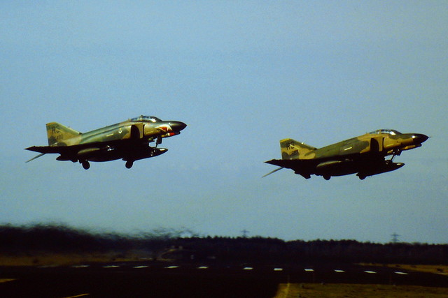 F-4E Phantom II aircraft 68-0480/ RS and 68-0527/RS both from 512 TFS/ 86TFW USAFE seen departing Runway-09 at Soesterberg Air Base.