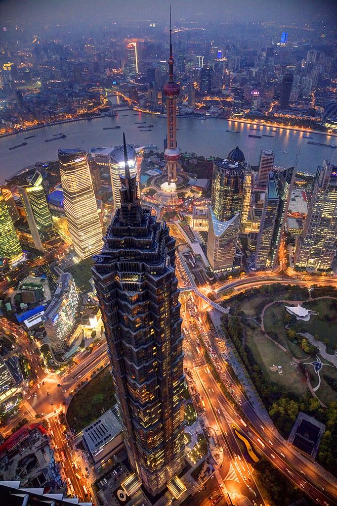 Jinmao building evening cityscape