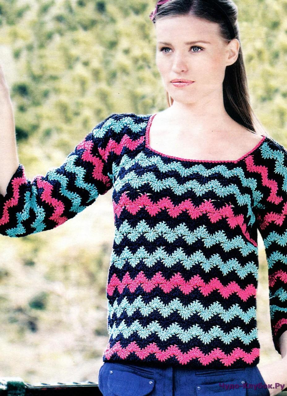 Спицами фото и схемы пуловер женский зигзаг