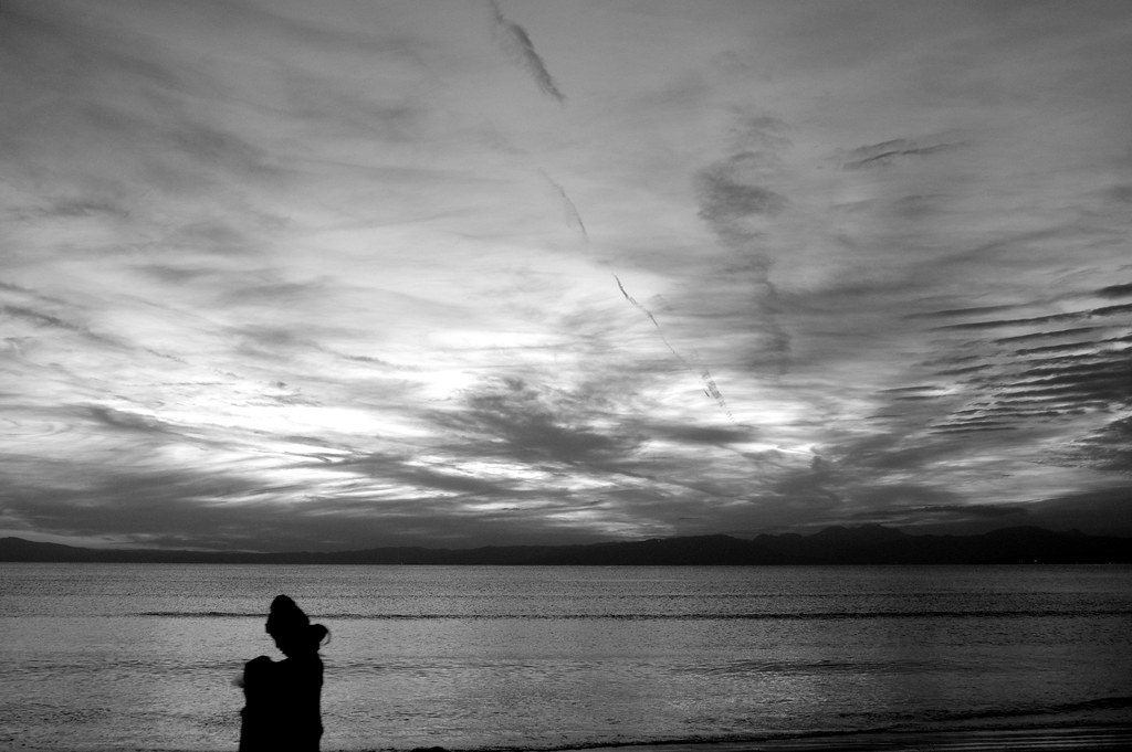 The silhouette of the beach