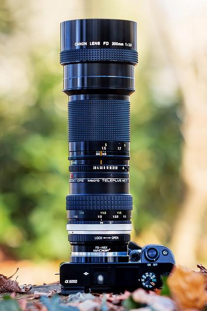 CANON nFD 200mm ƒ/2.8 II IF & Kenko-Tokina CFE 2x Macro Teleplus MC7 on SONY ⍺6000