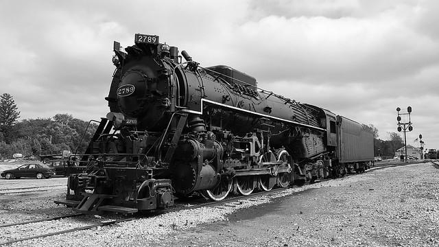 C&O 2789 Big Steam Locomotive Black and White!