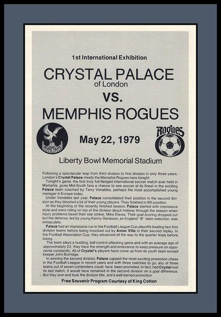 Crystal Palace FC v Memphis Rogues Program, 1979