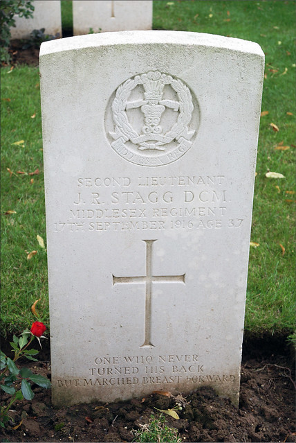 J.R. Stagg, Middlesex Regiment, 1916, War Grave, Euston Road Cemetery