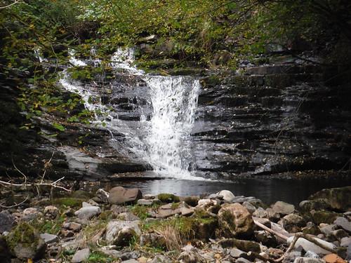 Small Waterfall in the Nant Llech Valley (Close-up) SWC Walk 280 Henrhyd Falls - Sgwd Henrhyd (Craig y Nos Circular)