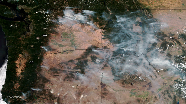 Fires in the U.S. Pacific Northwest as seen by Suomi NPP
