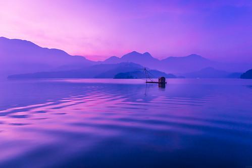 日月潭 晨 四手網 日出 sunrise dawn lake taiwan 南投