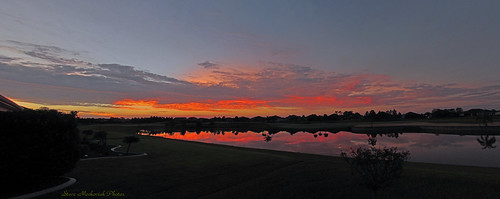 morning autumn sky panorama lake fall water clouds sunrise canon reflections early pond florida earlymorning powershot paintedsky sx150is smack53