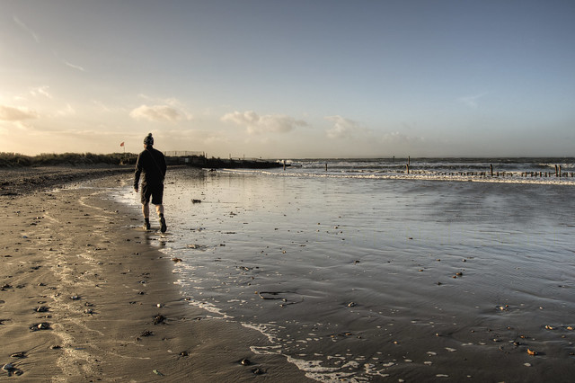 Dog walker, West Wittering Beach