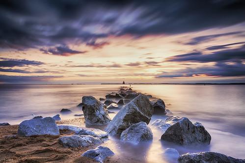 longexposure sky beach water clouds sunrise landscape dawn rocks jetty maryland annapolis filters cloudporn chesapeakebay waterscape hss sandypoint neutraldensity sliderssunday leelittlestopper