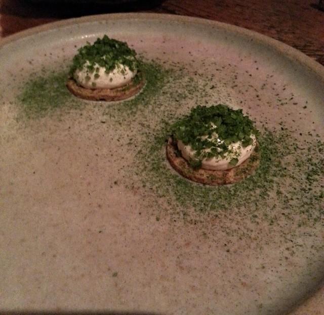The Clove Club - snacks with green tea powder