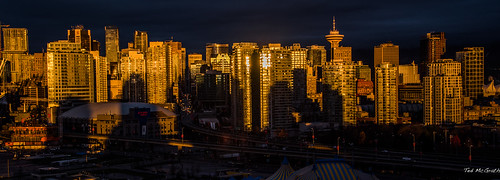 reflection vancouver sunrise buildings nikon shadows d750 cropped cbd vancouverbc highrises sunreflection vancouvercity rogersarena cans2s tedsphotos nikonfx vancouvercbd nikond750