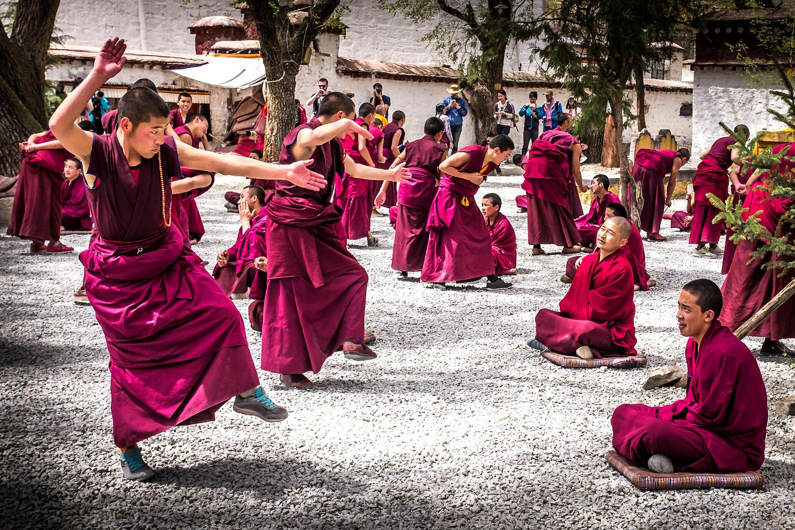 Tibetan monks practice formal debating in Lhasa